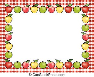 Apple Frame, Red Gingham Border - Apple frame place mat with...