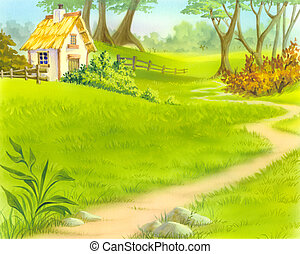 A Path Near Old Wooden House - Digital Painting,...
