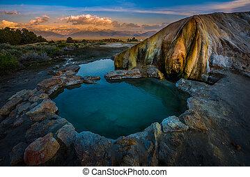 Travertine Hot Springs wit Sunrise over the Sierras