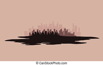 Vector illustration of city silhouettes