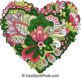 Doodle summer flowers in heart shape