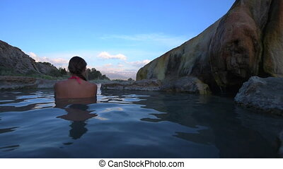Relaxing bath at Sunrise Travertine Hot Springs Bridgeport...
