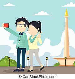 couple selfie monas