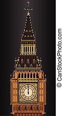 Big Ben Striking Midnight - A detailed illustration of the...