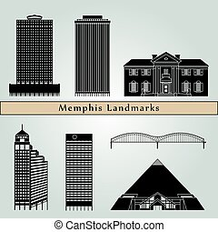 Memphis landmarks and monuments isolated on blue background...