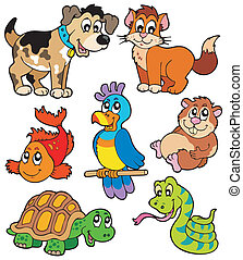 Pet cartoons collection - vector illustration