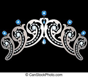 Diadem with diamonds and sapphires - Silver diadem decorated...