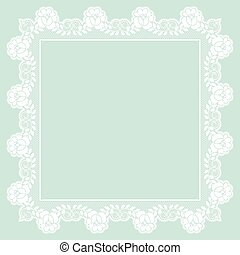White lace frame - Elegant white lace frame on a green...