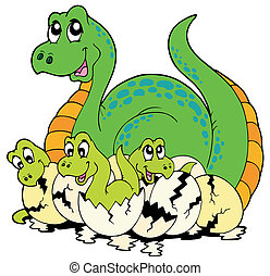 Dinosaur mom with cute babies - vector illustration