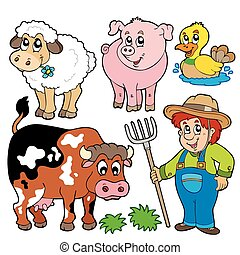 Farm cartoons collection - vector illustration