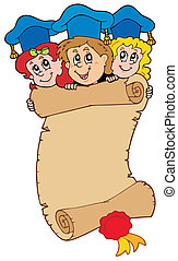 Three graduating kids with scroll - vector illustration.