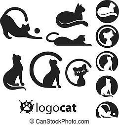 cat logo set concept designed in a simple way so it can be...