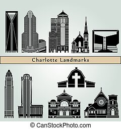 Charlotte landmarks and monuments isolated on blue...