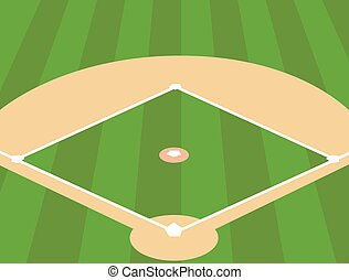 Baseball Field as Background - Vector Illustration of...