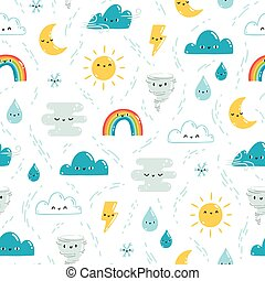 Fun weather pattern - Fun weather illustration vector...
