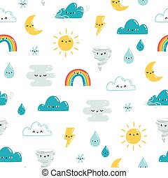 Fun weather pattern on white background