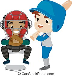 Two Kids as Baseball Player