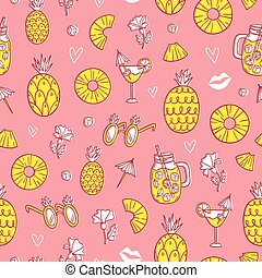 Pineapple mood pattern on pink background - Pineapple mood...