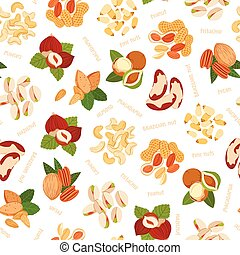 Various nuts illustrations pattern - Various nuts...