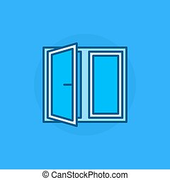 Open window blue icon. Vector flat concept window symbol