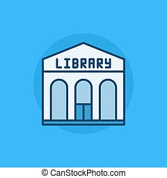 Library building flat icon - vector library colorful sign on...