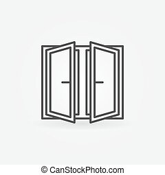 Wide open window icon. Vector outline concept window symbol...