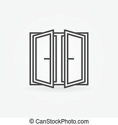 Wide open window icon. Vector outline concept window symbol...