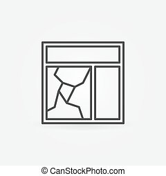 Broken window glass pane icon Vector thin line broken window...