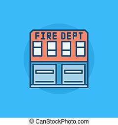 Fire department flat icon - Fire department building flat...