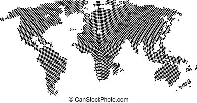 Vector halftone world map. Continents for your design.