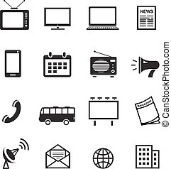 Advertising media silhouette icons, marketing, television, radio and internet content