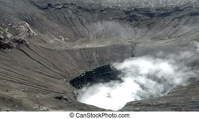 View inside the active volcano crater at Mt. Bromo, Tengger...