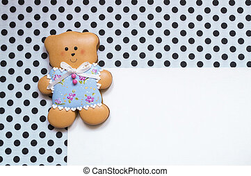 Polka-dot background with a bear - A cute polka dot...