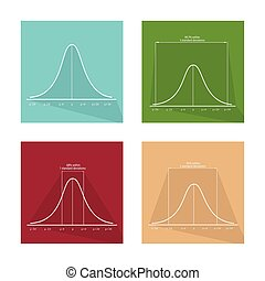 Collection of 4 Normal Distribution Curve Icons - Flat...