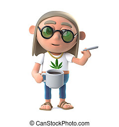 3d Hippie stoner has a coffee and a smoke - 3d render of a...