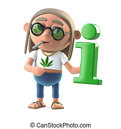3d Hippie stoner has information - 3d render of a hippie...