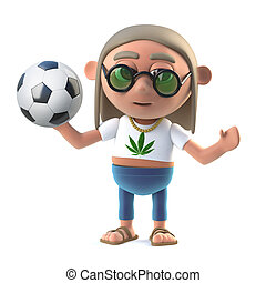 3d Hippie stoner loves soccer - 3d render of a hippie stoner...