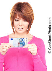 lovely woman with cash money - picture of lovely woman with...