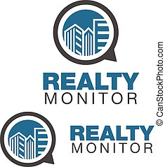 realty monitor - realty logo concept designed in a simple...