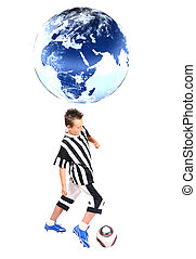 Young footballer with ball, isolated on white background -...