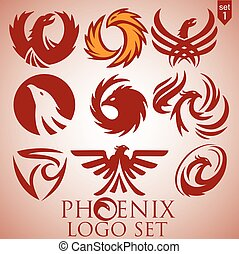 phoenix logo set 1 concept designed in a simple way so it...