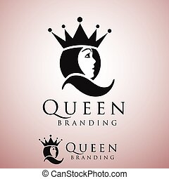 queen logo concept designed in a simple way so it can be use...