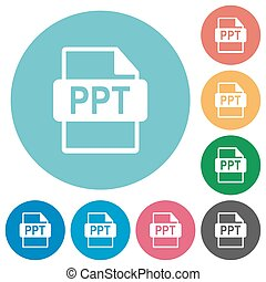 Flat PPT file format icons - Flat PPT file format icon set...