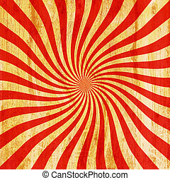 grunge red and orange vintage sunburst swirl, twirl...