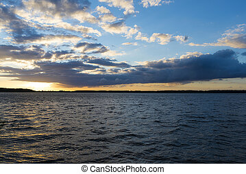 Landscape after sunsetof lake in Mazury district - Rybitwy...
