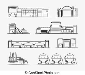 Factories and plants drawing set