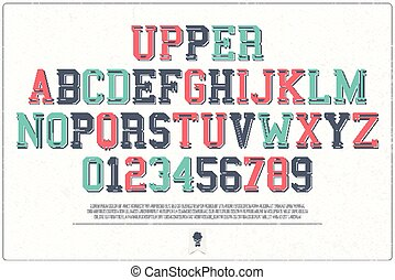 upper - set of classical style alphabet letters and numbers...