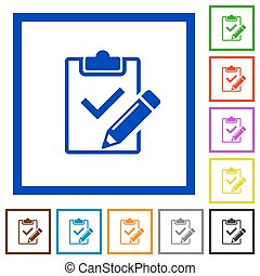 Fill out checklist framed flat icons - Set of color square...