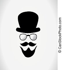 Hat, glasses and mustache Vector illustration