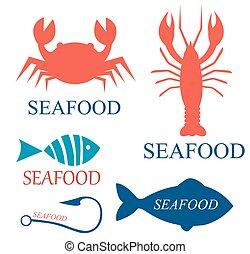 Set of seafood logo templates